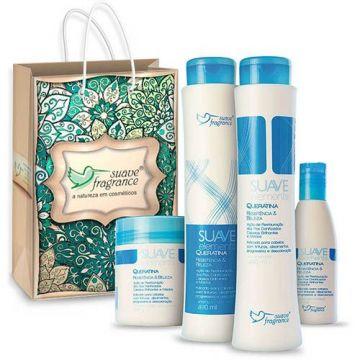 Kit Shampoo + Condicionador + Máscara Capilar + Creme sem Enxágue + Sacola Suave Fragrance Suave Elements Queratina Ref. 8111