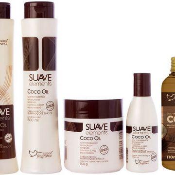 Kit Shampoo + Condicionador + Máscara Capilar + Creme sem Enxágue + Óleo de Coco + Sacola Suave Fragrance Coco Oil Ref. 8153