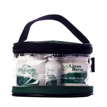Kit Esfoliante + Hidratante + Loção para Pés + Necessaire Suave Fragrance Lizza Derm Ref. 8181