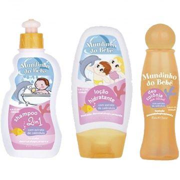 Kit Shampoo + Hidratante + Conlônia Infantil Natu Charm Mundinho do Bebê Ref. 9053